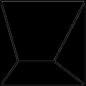 Grundform der Fliese ESPLANADE. Das Bild zeigt in einer schwarzen Strich-Grafik die Form der Fliese ESPLANADE. Die Datei ist eine Grafik im PNG-Format.