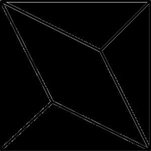 Grundform der Fliese LUX. Das Bild zeigt in einer schwarzen Strich-Grafik die Form der Fliese LUX. Die Datei ist eine Grafik im PNG-Format.